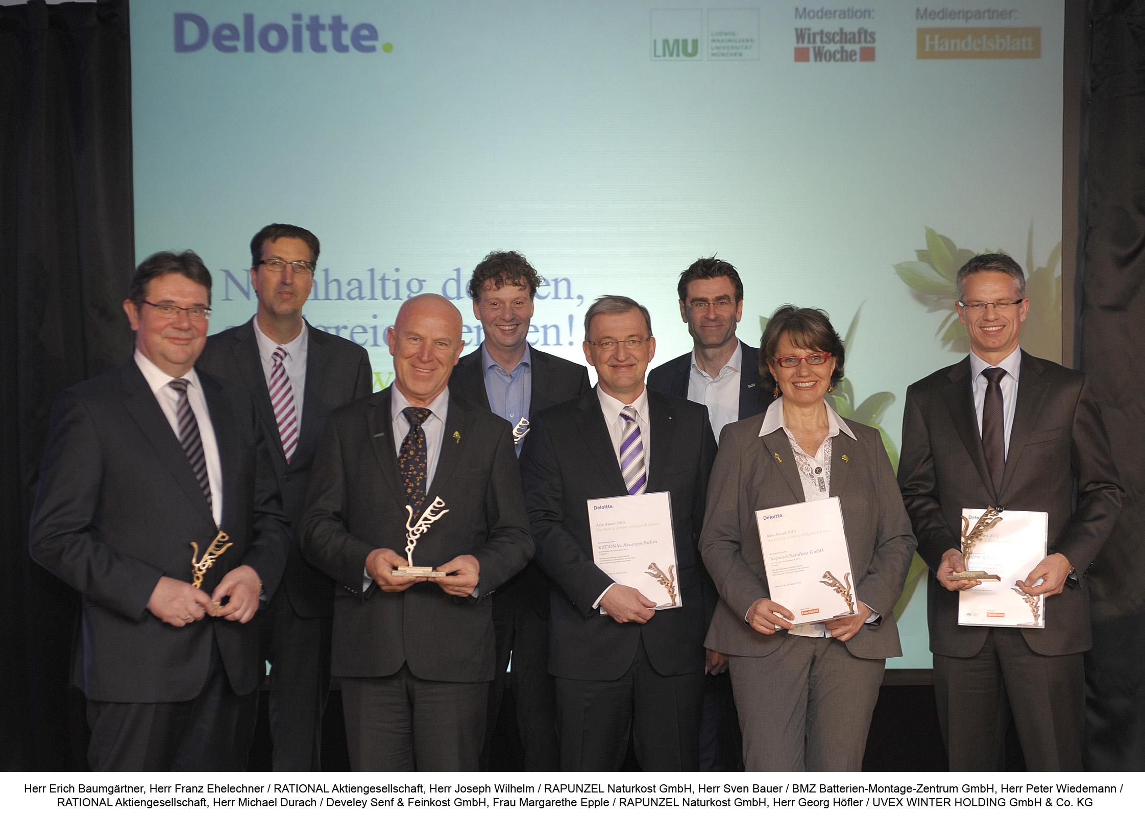 Die Preisträger des 13. Axia-Awards aus Bayern: Sie verbinden langfristige Unternehmensplanung, soziale Werte und finanzielle Unabhängigkeit.