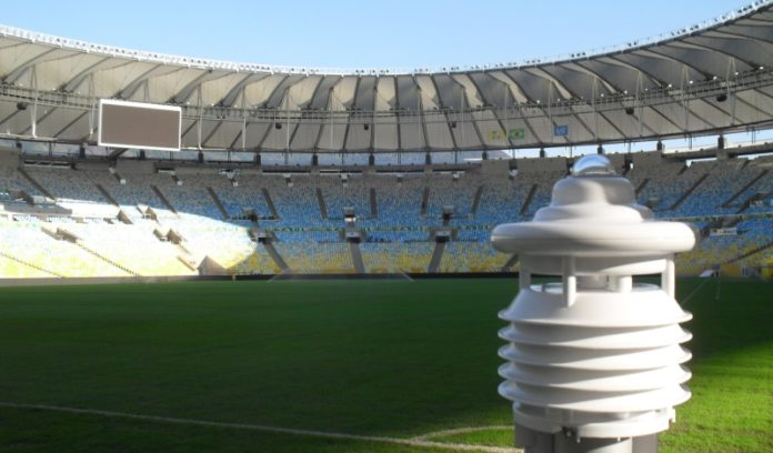 Schwäbische Präzision für den Weltsport: Wetterstation von Lufft im Maracana Stadion in Rio.