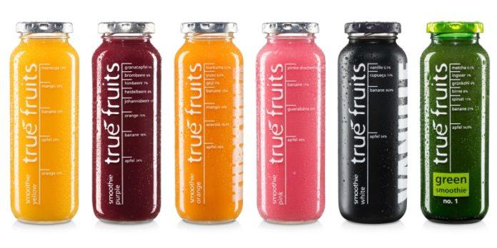 Smoothies von True Fruits: Puristisches Design und hochwertige Zutaten.