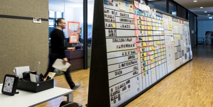 Portfolio Board von Sipgate: Hier stehen alle Projekte, die montags im großen Teammeeting besprochen werden. © Oliver Tjaden